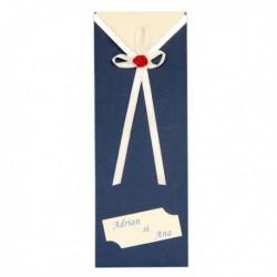 Invitatie crem cu fundita alb cu rosu si suport albastru 01.25.020