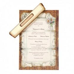 Invitatie alb si maro cu margarete 01.25.027