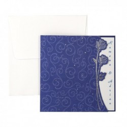 Invitatie albastru si argintiu cu trandafiri 01.25.025