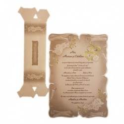 Invitatie pergament, cu trandafiri si inimioare, pe auriu 01.60.021