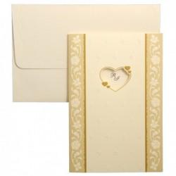 Invitatie crem cu inimioare si design floral 01.50.032