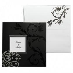Invitatie alb si negru cu design floral 01.60.035