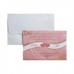 Invitatie roz cu inimioare 01.50.009