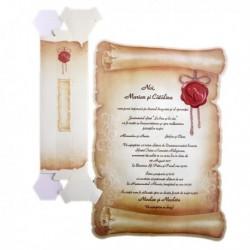 Invitatie pergament, cu inimioare 01.60.018