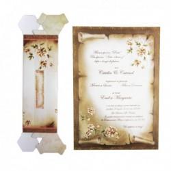 Invitatie pergament, cu floricele, pe auriu 01.60.019