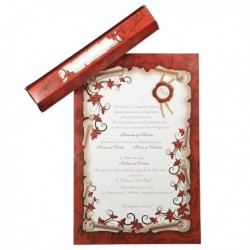 Invitatie bordo si alb cu design floral 01.60.039