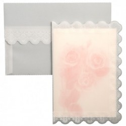 Invitatie alba cu trandafiri roz 01.50.021