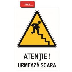 Autocolant atentie urmeaza scari