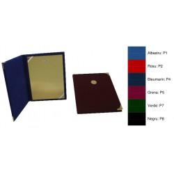 Mapa din plus, cu locas de emblema (0 5cm) pe exterior, chenar si doua coltare transparente pentru fixarea diplomei A4